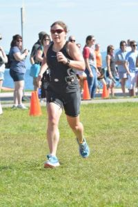 Me finishing the Lake George Olympic Triathlon 8/31/2014